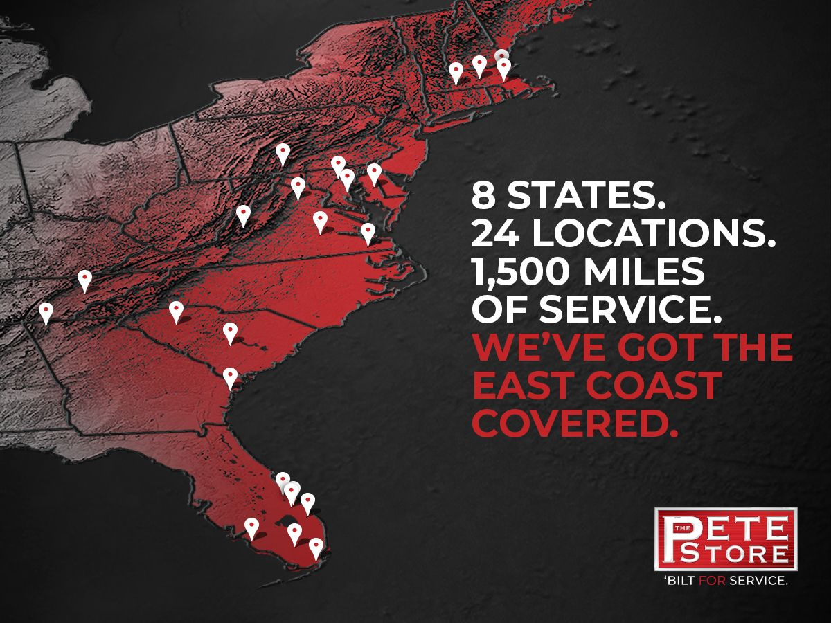 8 States.  24 Locations.  1,500 Miles of Service.  We've Got the East Coast Covered.